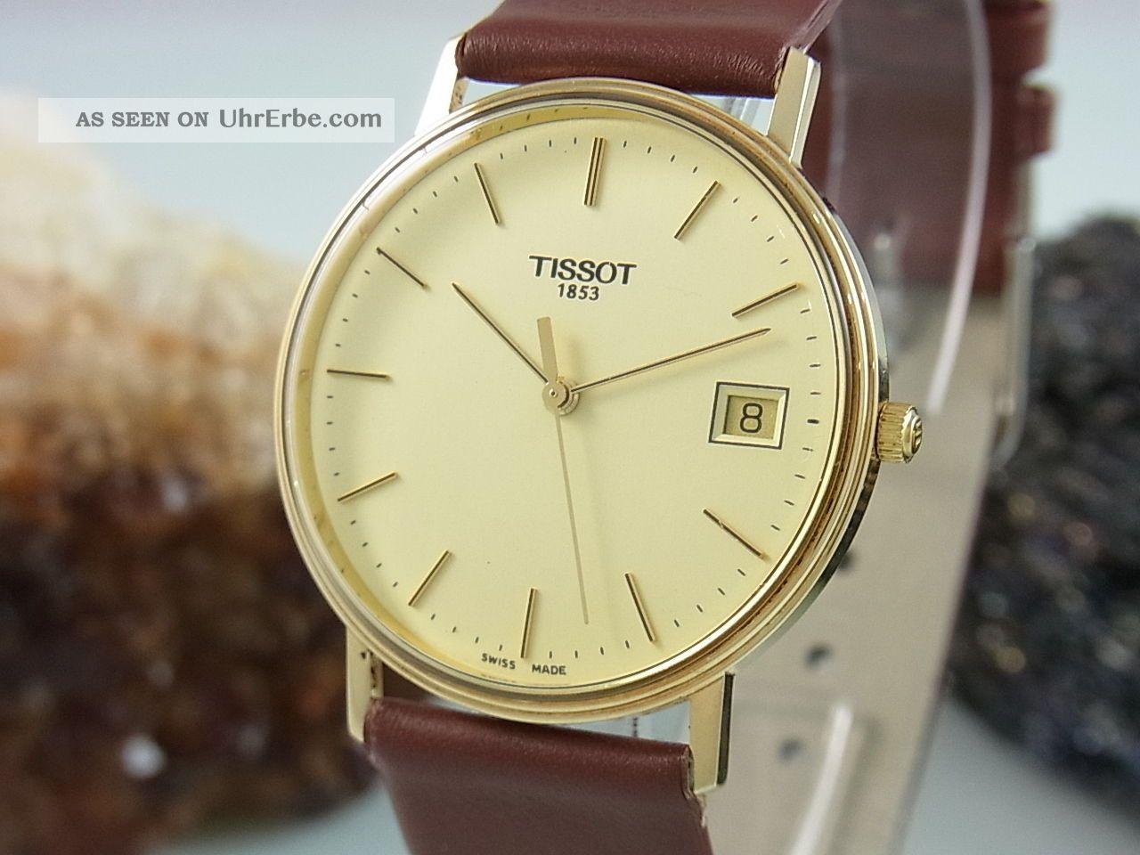 Tissot Herrenuhr Aus 585 / 14k Gold Uhr Datum Anzeige Armbanduhren Bild