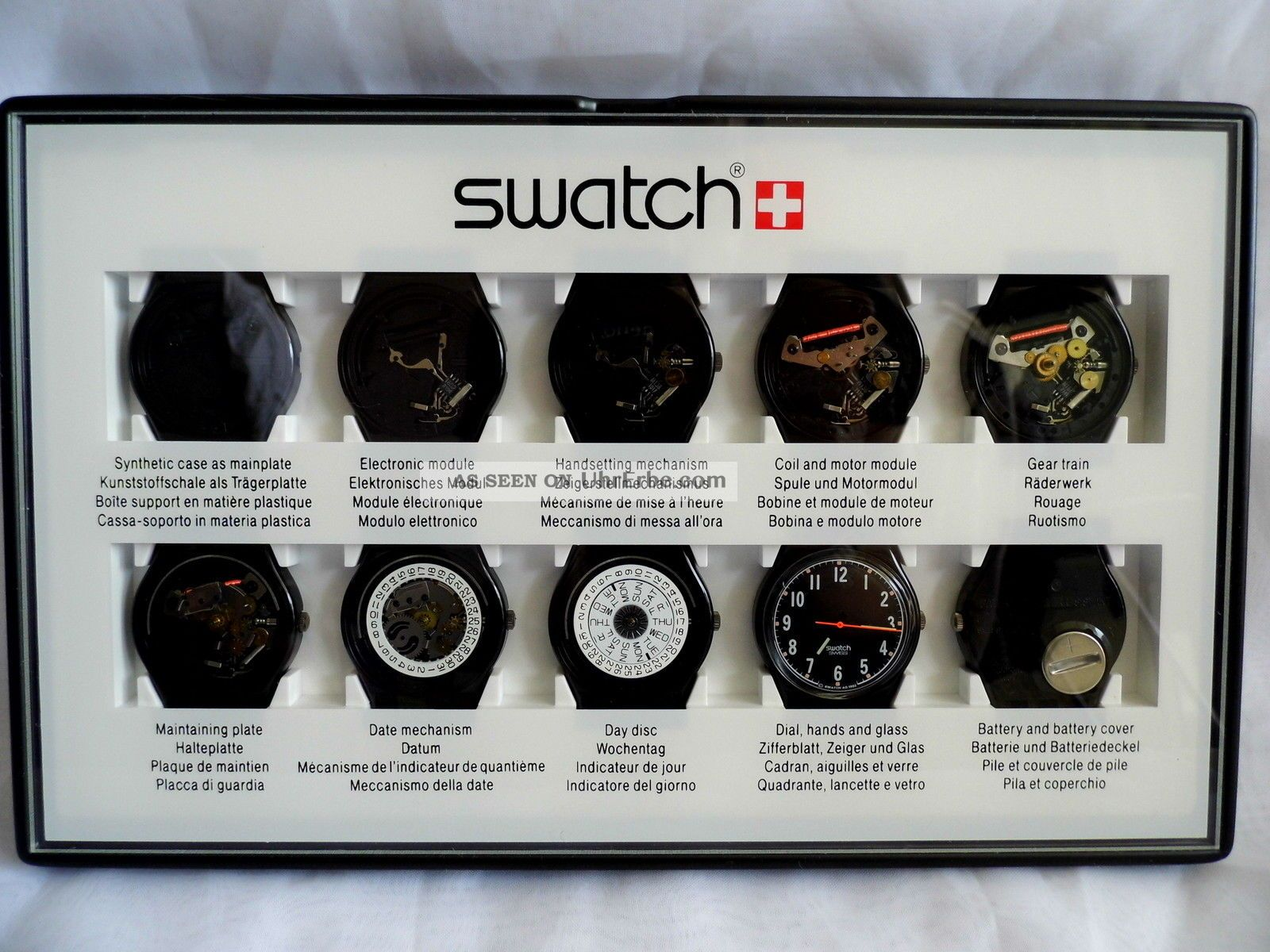 Swatch Special - 10 Step Production Showcase (black) Clubpack2 - Schaukasten Armbanduhren Bild