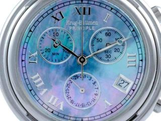 Krug Baümen Krug Baumen Principle Blue Chrono Dial Watch Silbern,  Ovp Bild