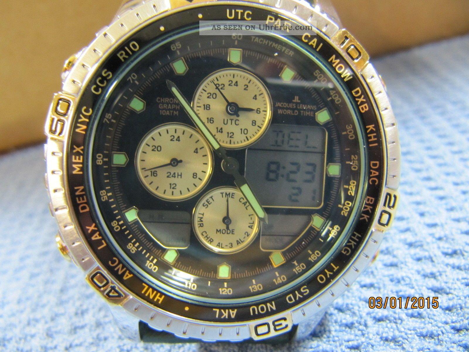 Jacques Lemans Weltzeituhr 601 Citizen Cal.  C300 30 Zeitzonen Armbanduhren Bild