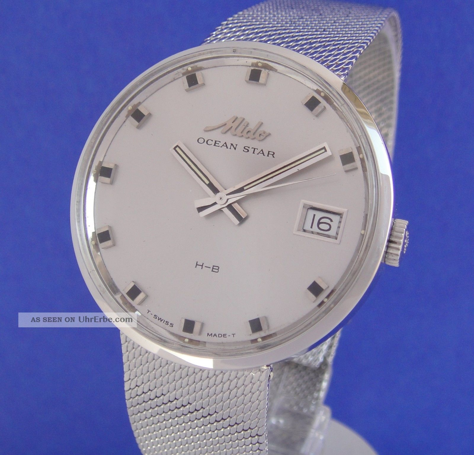Tolle Mido Ocean Star Automatik Herren Au Stahl/milanese 70er Jahre Top Armbanduhren Bild