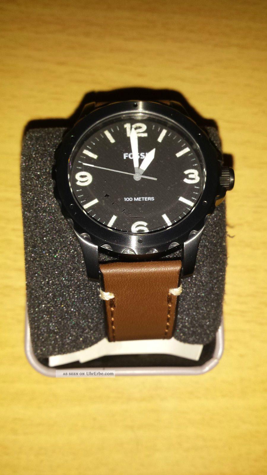Fossil Herrenarmbanduhr Jr1450 Leder Braun Top Mit Und Etikett Armbanduhren Bild