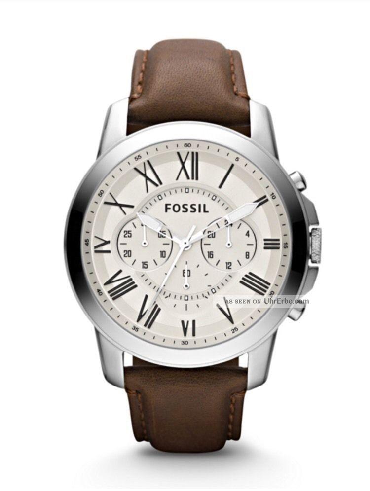 Fossil Uhr Herrenuhr Fs4735 Grant Leder Armbanduhren Bild