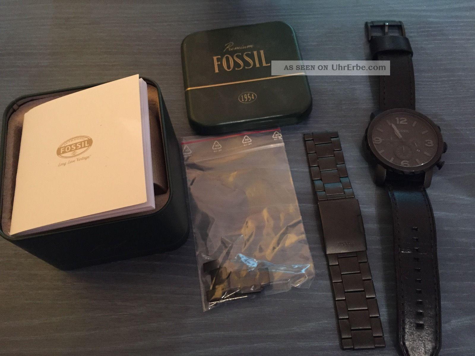 Fossil (nate Jr1354) Premium Armbanduhr Herren Leder Und Edelstahlarmband Armbanduhren Bild