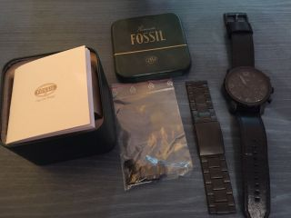 Fossil (nate Jr1354) Premium Armbanduhr Herren Leder Und Edelstahlarmband Bild