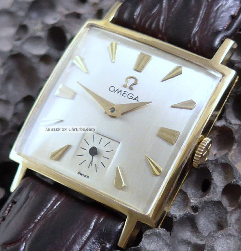 1950iger Omega Rectangular In Solid 14 Karat Gelbgold Perfekt Armbanduhren Bild