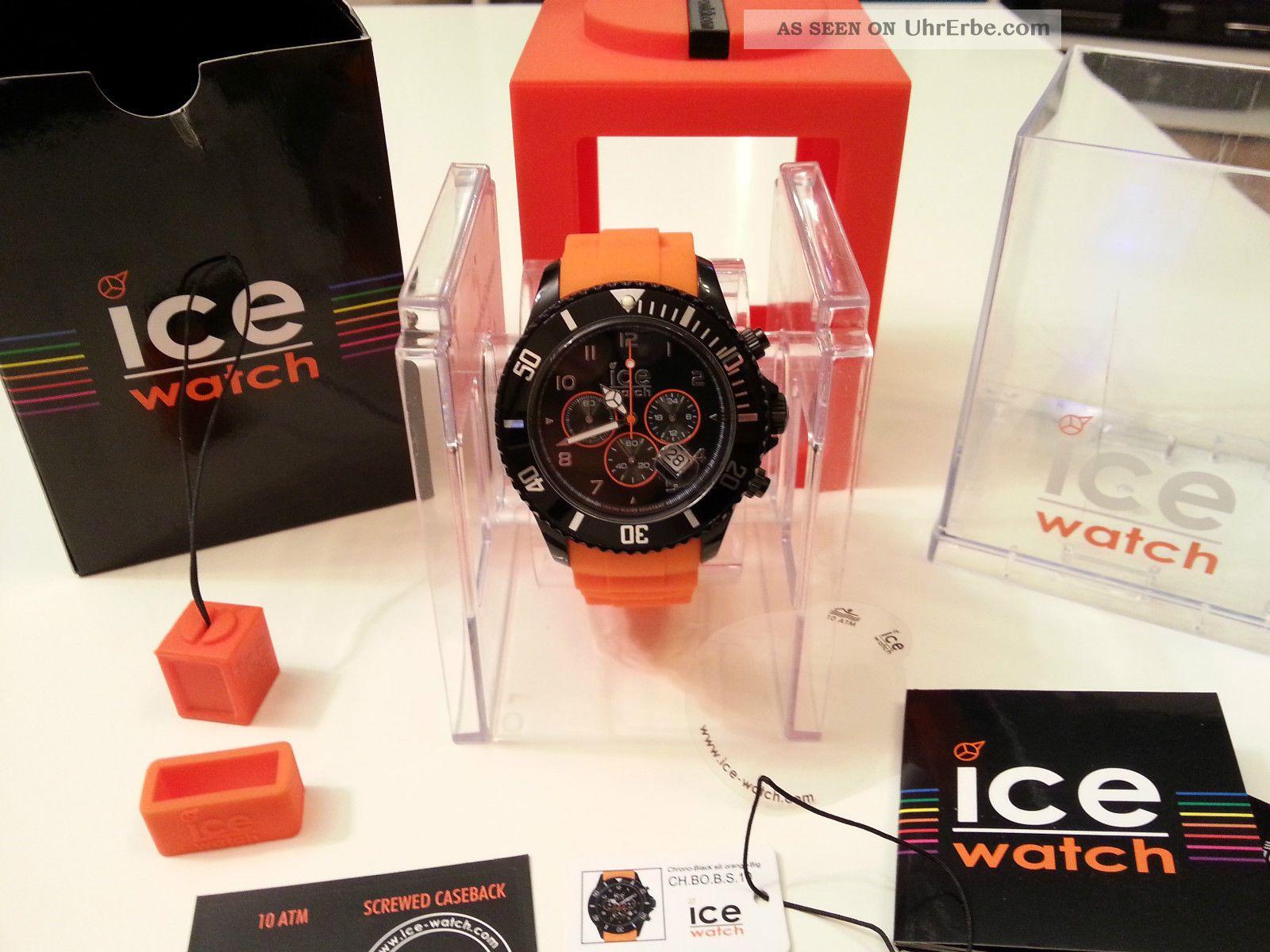 Ice Watch Black / Orange Chrono 48mm Neuwertig Aus Sammlung Ch.  Bo.  B.  S.  10 Armbanduhren Bild