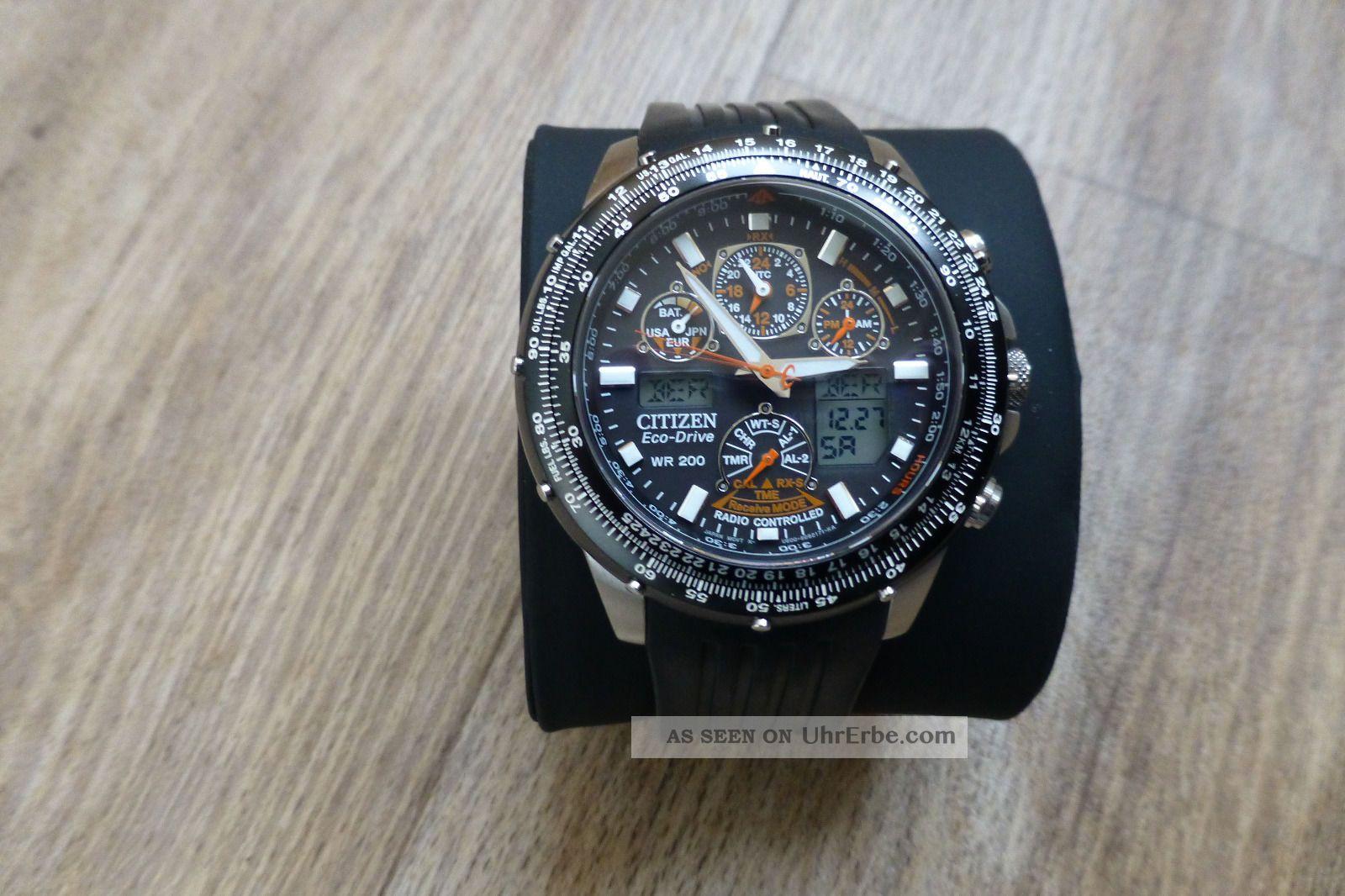 Citizen Eco - Drive Funkuhr Promaster Sky Jy0020 - 64ebr Mit 2 Armbändern Armbanduhren Bild
