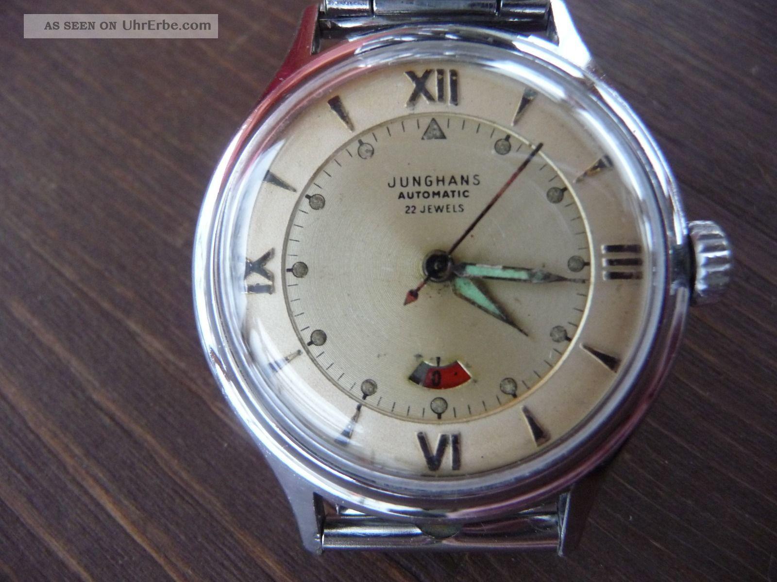 Junghans Armbanduhr Herren Alt 1951 Antik Automatikuhr Vintage In Orig Schachtel Armbanduhren Bild
