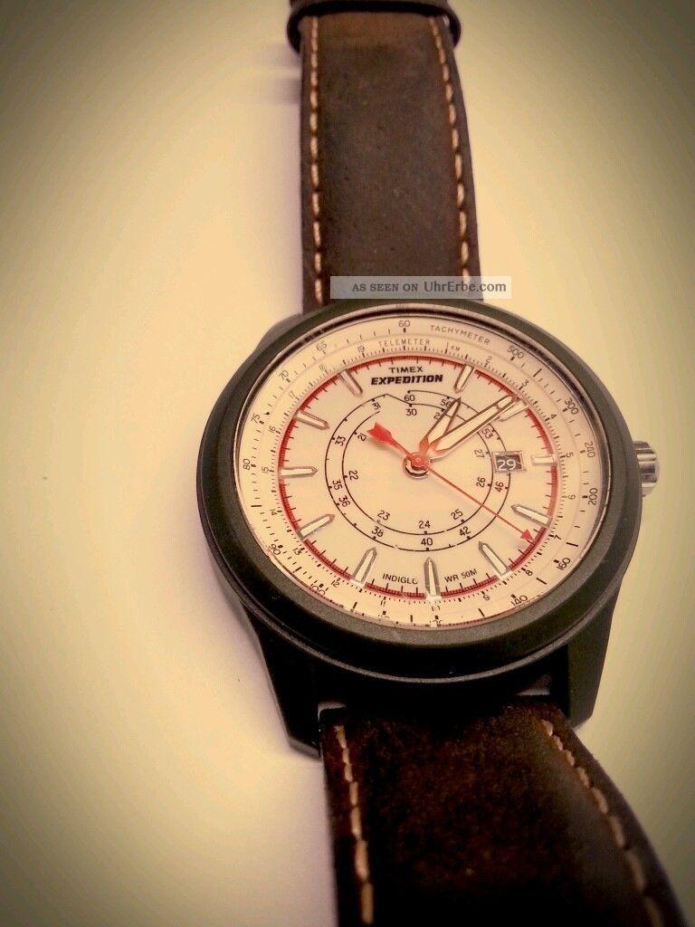 Neuwertige Timex Expedition T49921 Braun Leder Armband Herren Analoge Uhr Watch Armbanduhren Bild