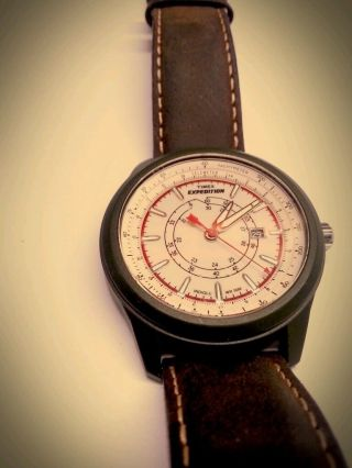 Neuwertige Timex Expedition T49921 Braun Leder Armband Herren Analoge Uhr Watch Bild