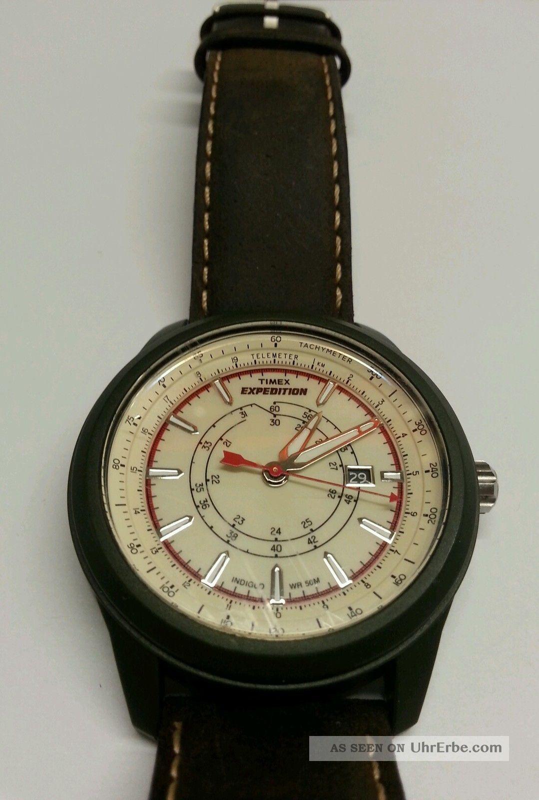 neuwertige timex expedition t49921 braun leder armband herren analoge uhr watch. Black Bedroom Furniture Sets. Home Design Ideas