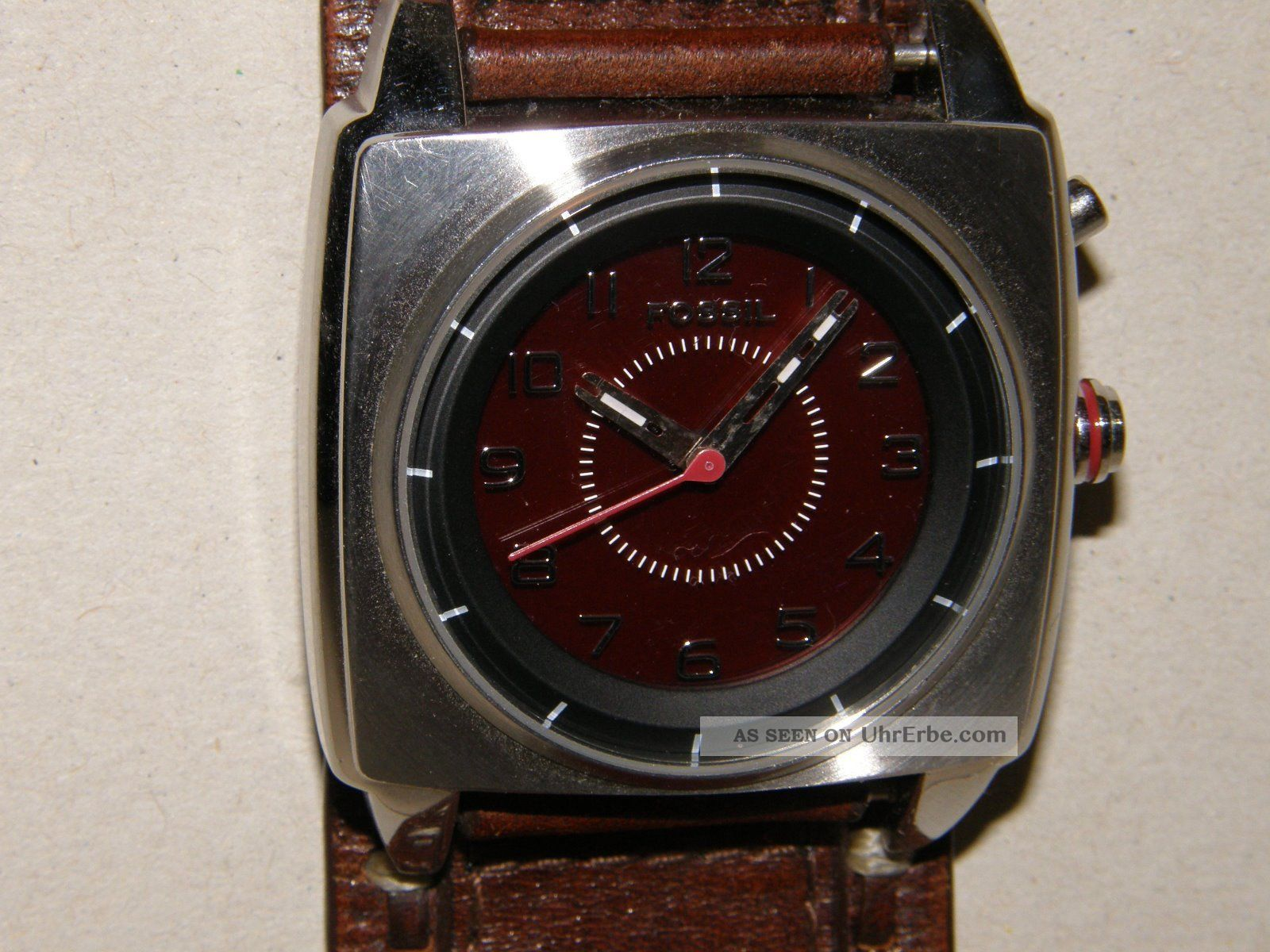 Fossil Bg - 2165 Herrenuhr Kaleido Schwarz / Rotes Zifferbl.  Mit Neuer Batterien Armbanduhren Bild