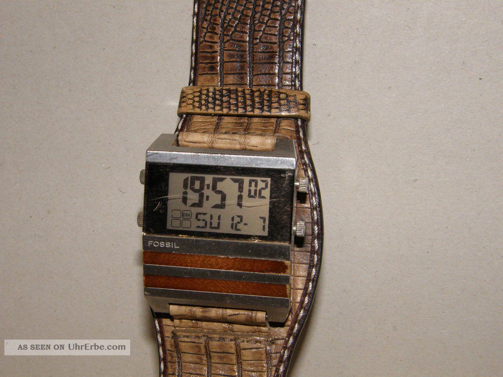 Fossil Jr - 9748 Armbanduhr Für Herren Digitaluhr Mit Neuer Batterie Armbanduhren Bild