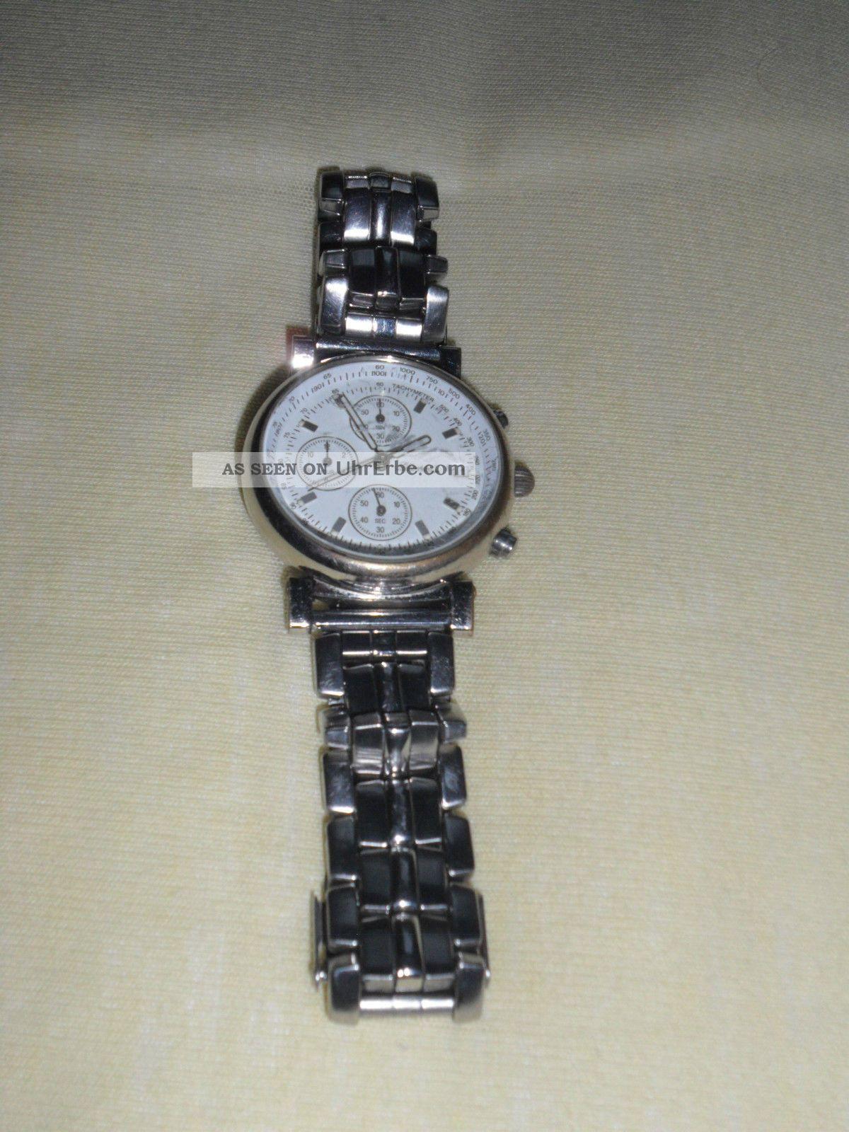 Herrenuhr Herren Armbanduhr Uhr Metallarmband Mercedes Benz Silberpfeil Armbanduhren Bild