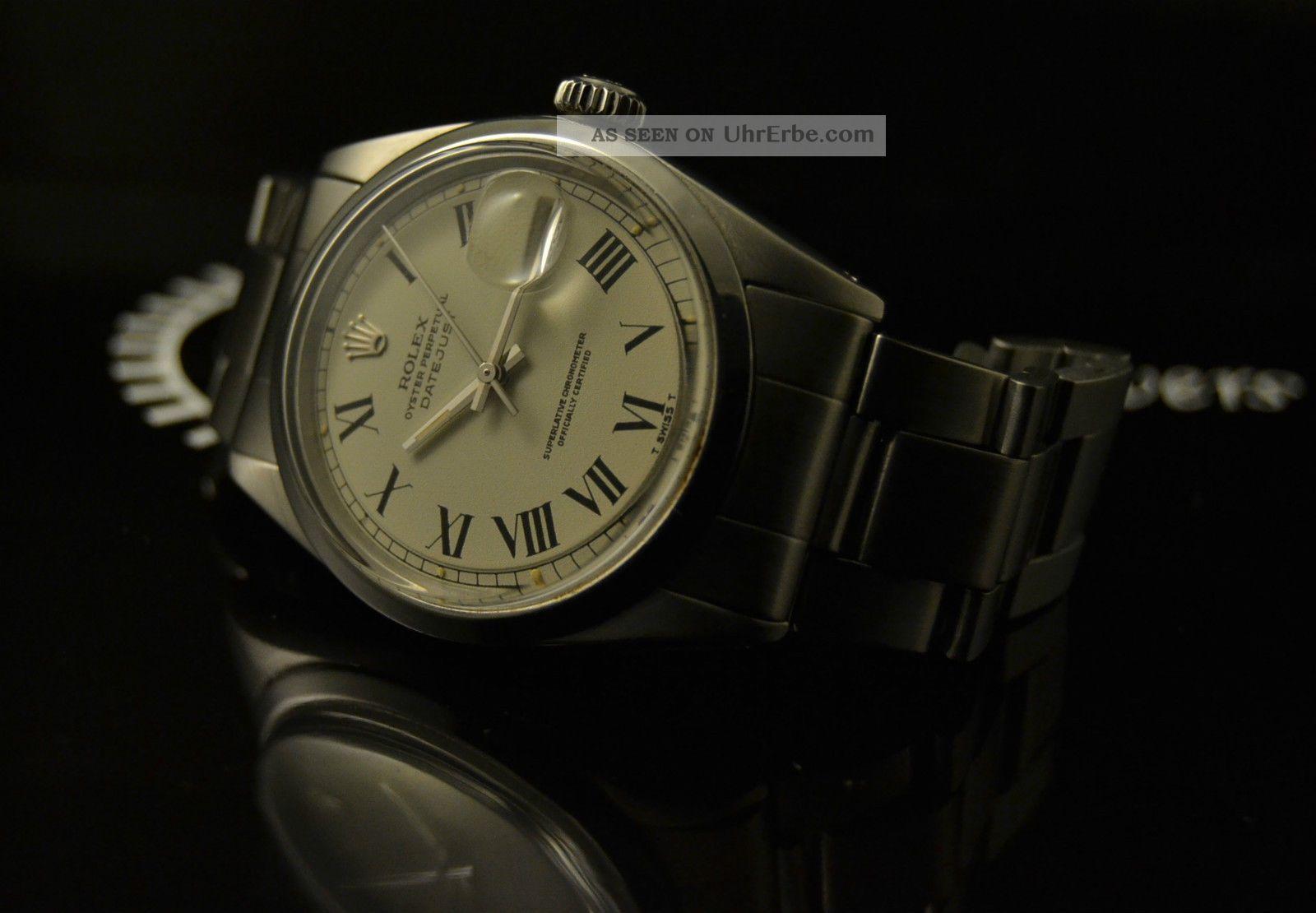Men ' S Rolex Datejust Buckley Creamy Dial Ref.  1600 Vintage Watch,  7836 Band 36mm Armbanduhren Bild