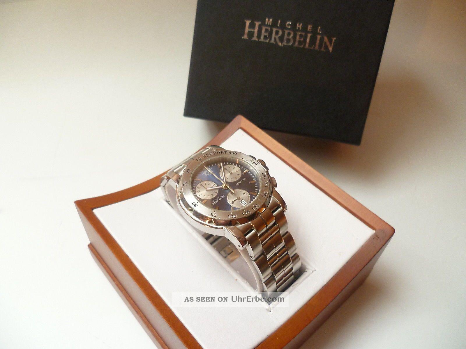 Michel Herbelin Newport Ref.  32487 Stahl/stahlband Herrenuhr Box Händler 5668 Armbanduhren Bild