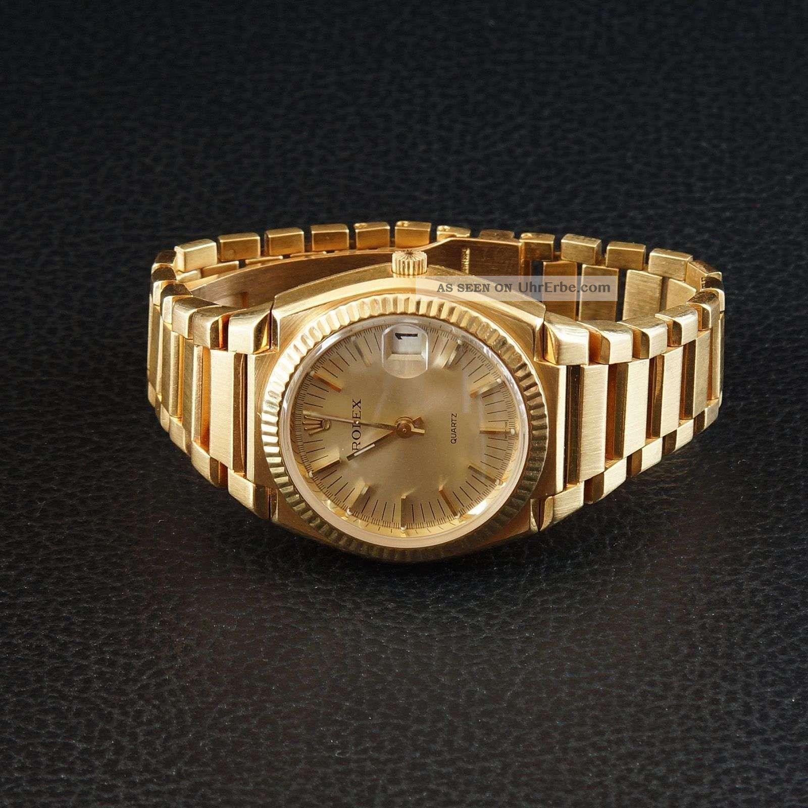 Sehr Seltene Rolex Beta - Quarz Gelbgold Armbanduhren Bild