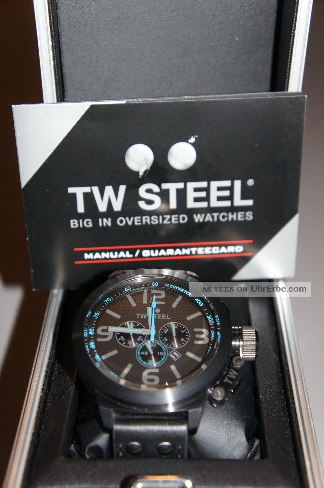 Tw Steel Tw 904 Canteen Herren Uhr Xl 45mm Chornograph Schwarz Blau Armbanduhren Bild