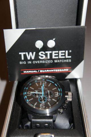 Tw Steel Tw 904 Canteen Herren Uhr Xl 45mm Chornograph Schwarz Blau Bild