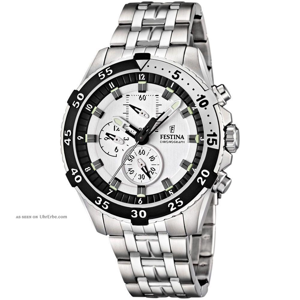 Festina Herren - Armbanduhr Chronograph Edelstahl Silber F16603/1 Armbanduhren Bild