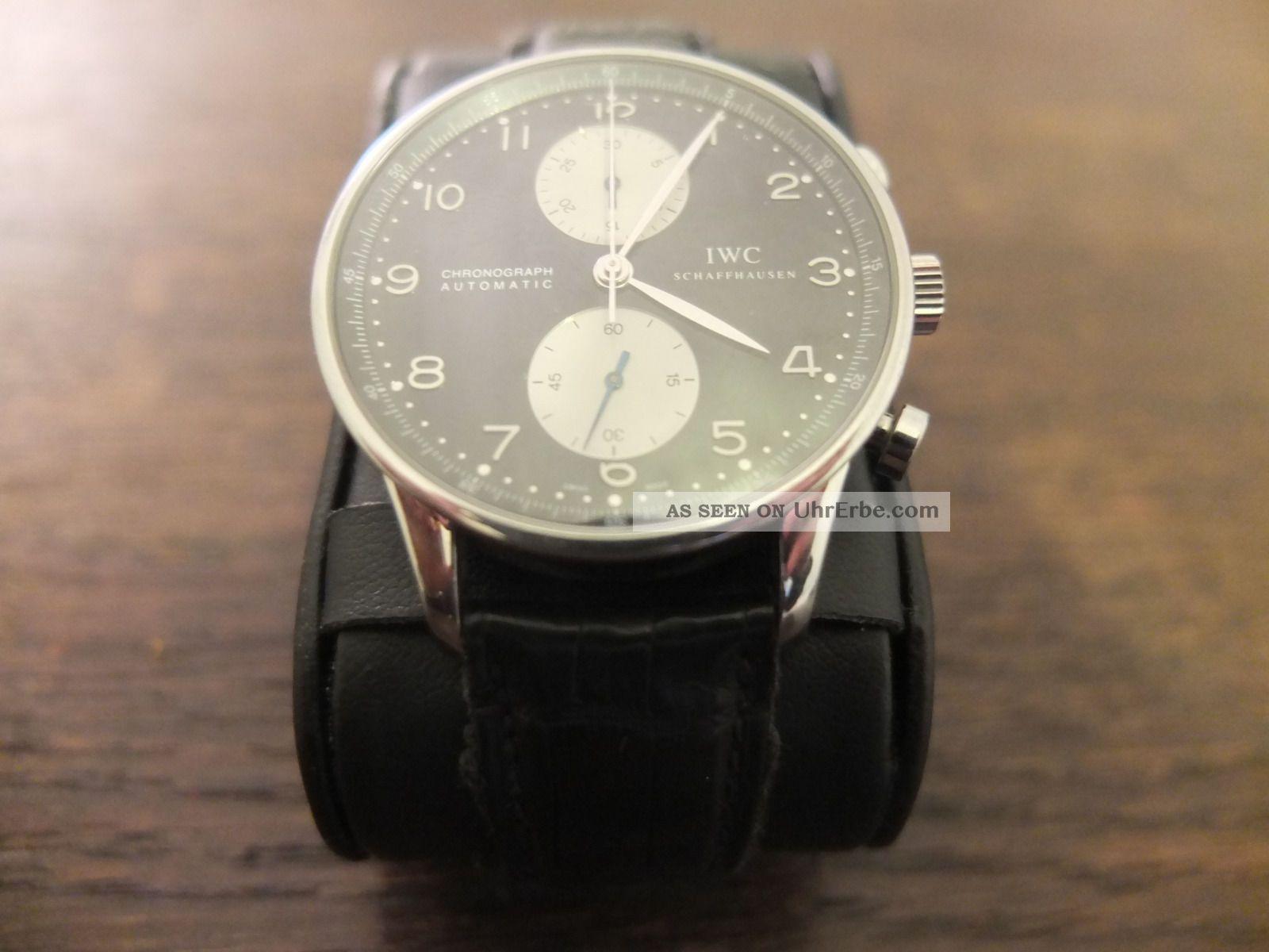 Iwc Portugieser Chronograph Ref.  3714 Schwarz,  Stahl,  Mit Box/pap. Armbanduhren Bild