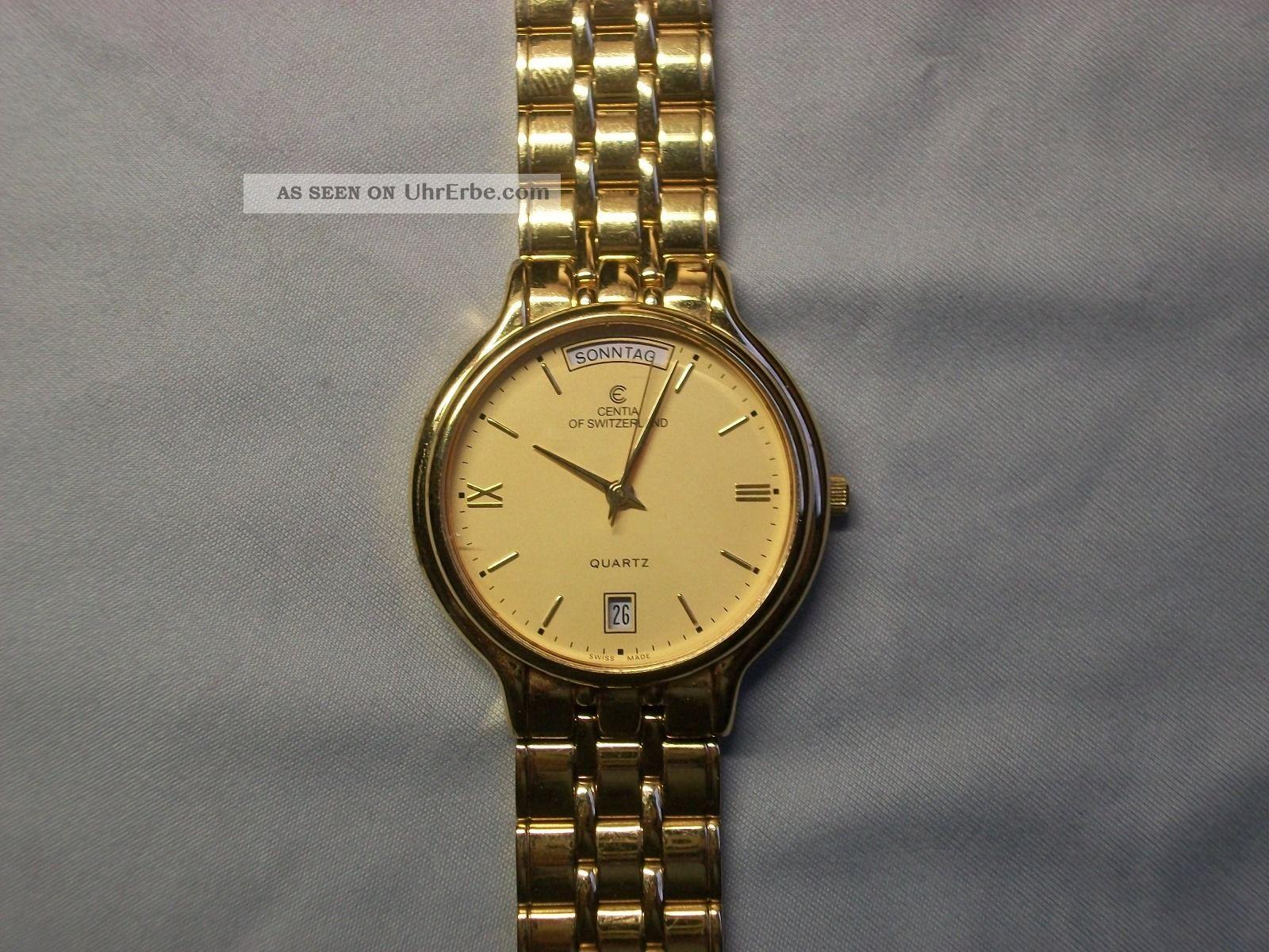 Centia Swiss Bg - 904 Armbanduhr Für Herren Vergoldet Armbanduhren Bild