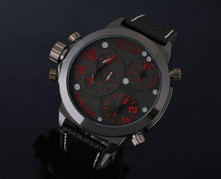 Zeiger Xxl Massiv Rot 3 Zeitzonen Herrenuhr Herren Uhr Leder Armbanduhr Uhren Bild
