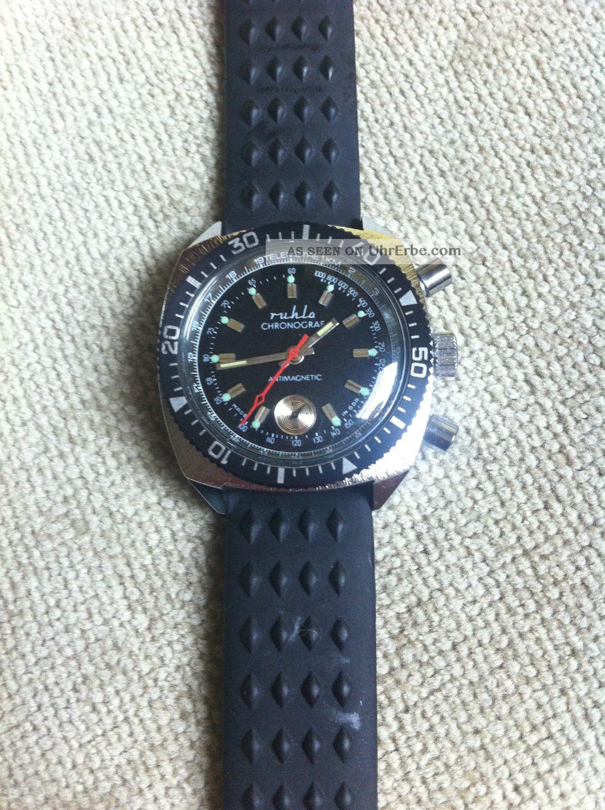 Ruhla Chronograf Ungetragen,  Vintage Ddr 70er - 80er Jahre,  Nos Armbanduhren Bild