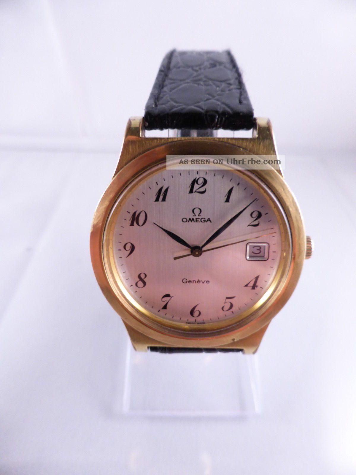 Omega Geneve Luxusuhr Mit Kaliber 1030,  Handaufzug,  Datum Ca.  1974,  Vintage - Uhr Armbanduhren Bild