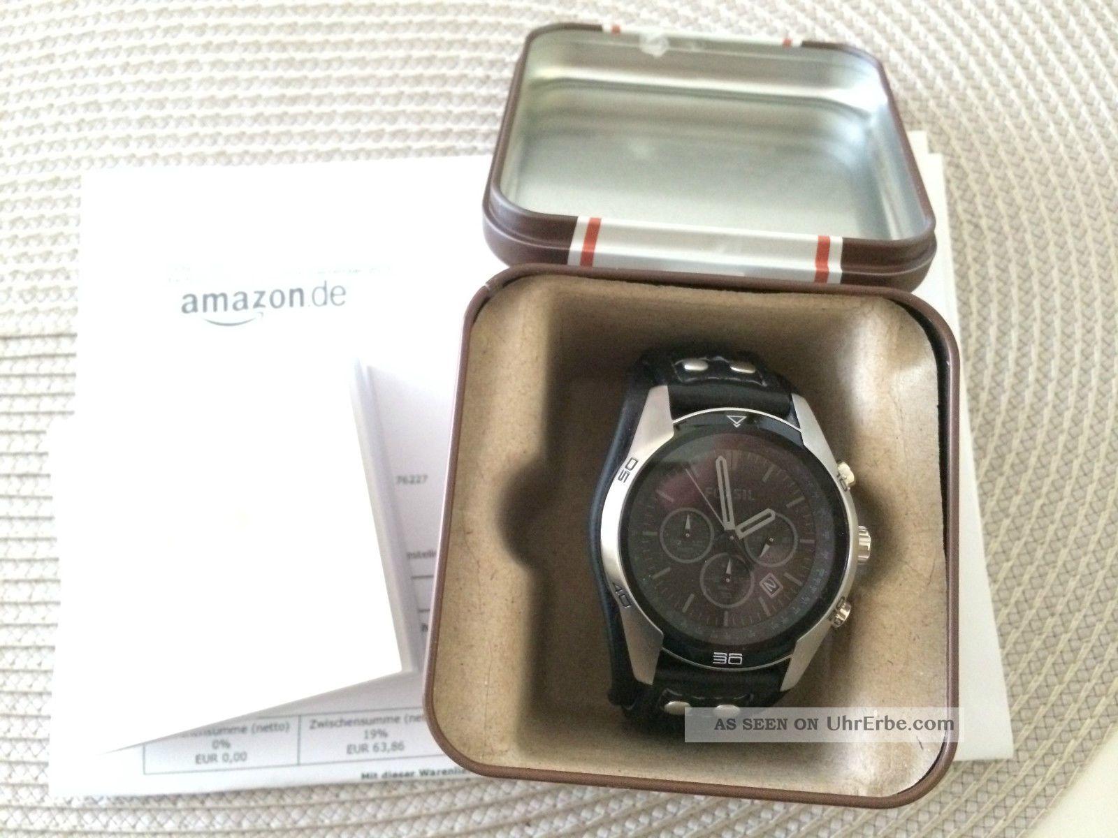 Fossil Uhr Herrenuhr Chronograph Ch2586 Sport Leder Armband Schwarz Neuwertig Armbanduhren Bild