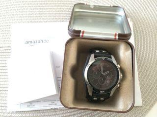 Fossil Uhr Herrenuhr Chronograph Ch2586 Sport Leder Armband Schwarz Neuwertig Bild
