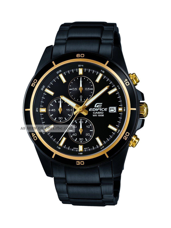 Casio Herren - Armbanduhr Xl Edifice Analog Quarz Edelstahl Efr - 526bk - 1a9vuef Armbanduhren Bild