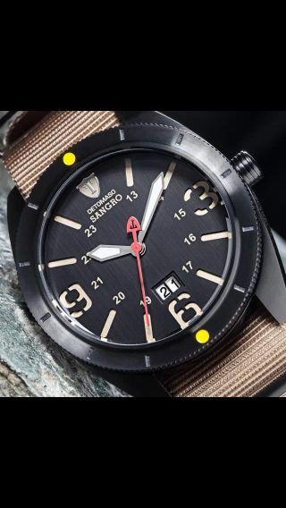 Detomaso Sangro Herrenuhr Edelstahl Schwarz Beige Nylon Armband 10 Atm Bild