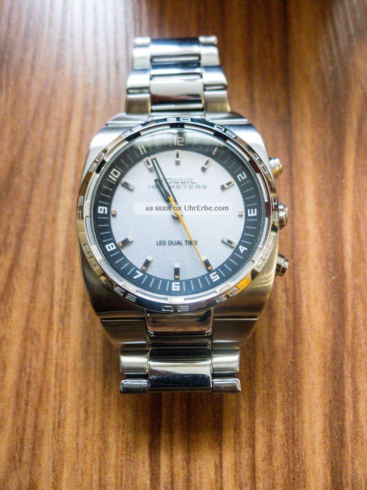 Fossil Herrenuhr Edelstahl Analog,  Digital,  100m Wasserdicht Armbanduhr Armbanduhren Bild