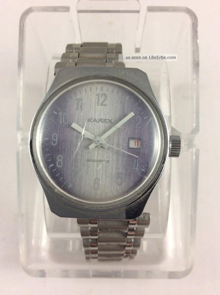 Karex Handaufzug Klassiker Der 70er Jahre Rotes Datum - Tolles Ziffernblatt Armbanduhren Bild