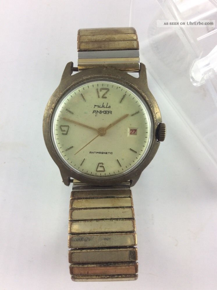 Ruhla Anker Handaufzug / Top Selten Rare - Rote Datumsanzeige Armbanduhren Bild