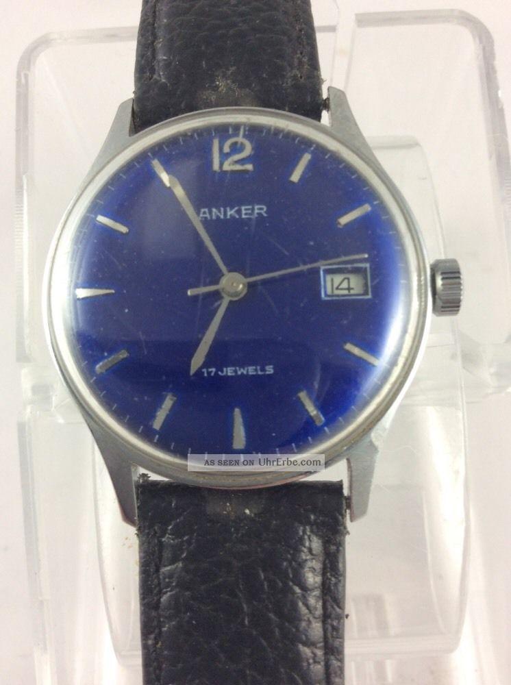 Anker 17 Jewels Handaufzug Blaues Ziffernblatt Datumsanzeige Armbanduhren Bild