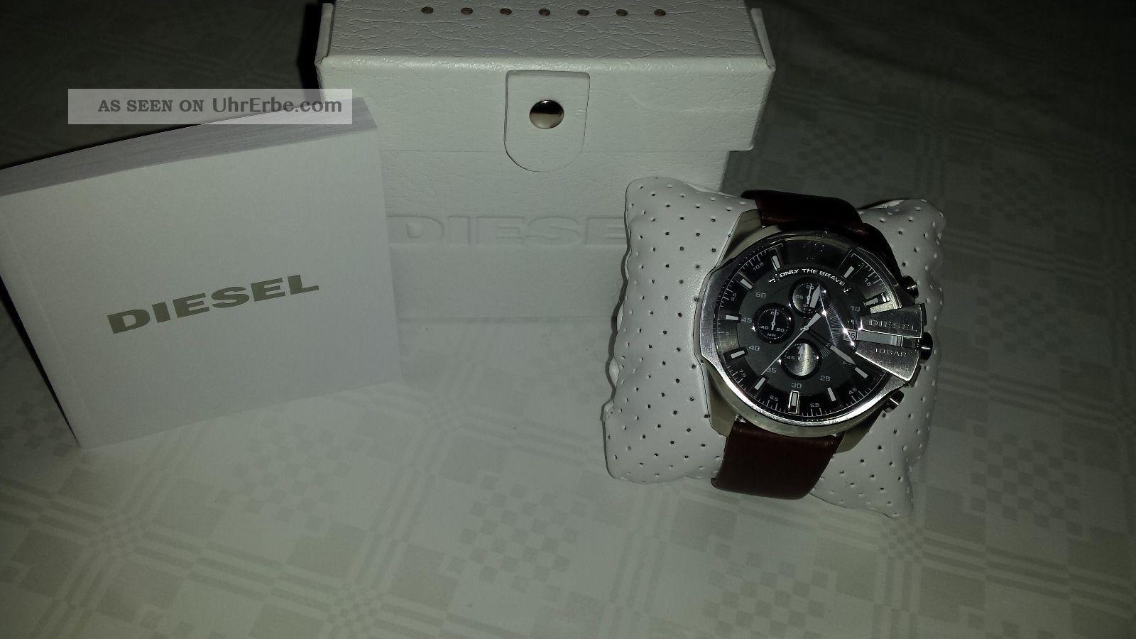 Diesel Dz4290 Herrenuhr Chronograph Mega Chief Leder Braun Armbanduhren Bild