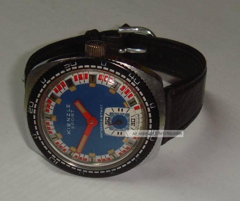 Große Alte Kienzle Sport,  38 Mm,  1960er Jahre,  Kaliber 051d53,  Taucher. Armbanduhren Bild