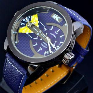 Xxl Herrenuhr Dualtimer 2 Uhrwerke 2 Zeitzone Datumsanzeige Gehäuse Ca.  50 Mm Bild