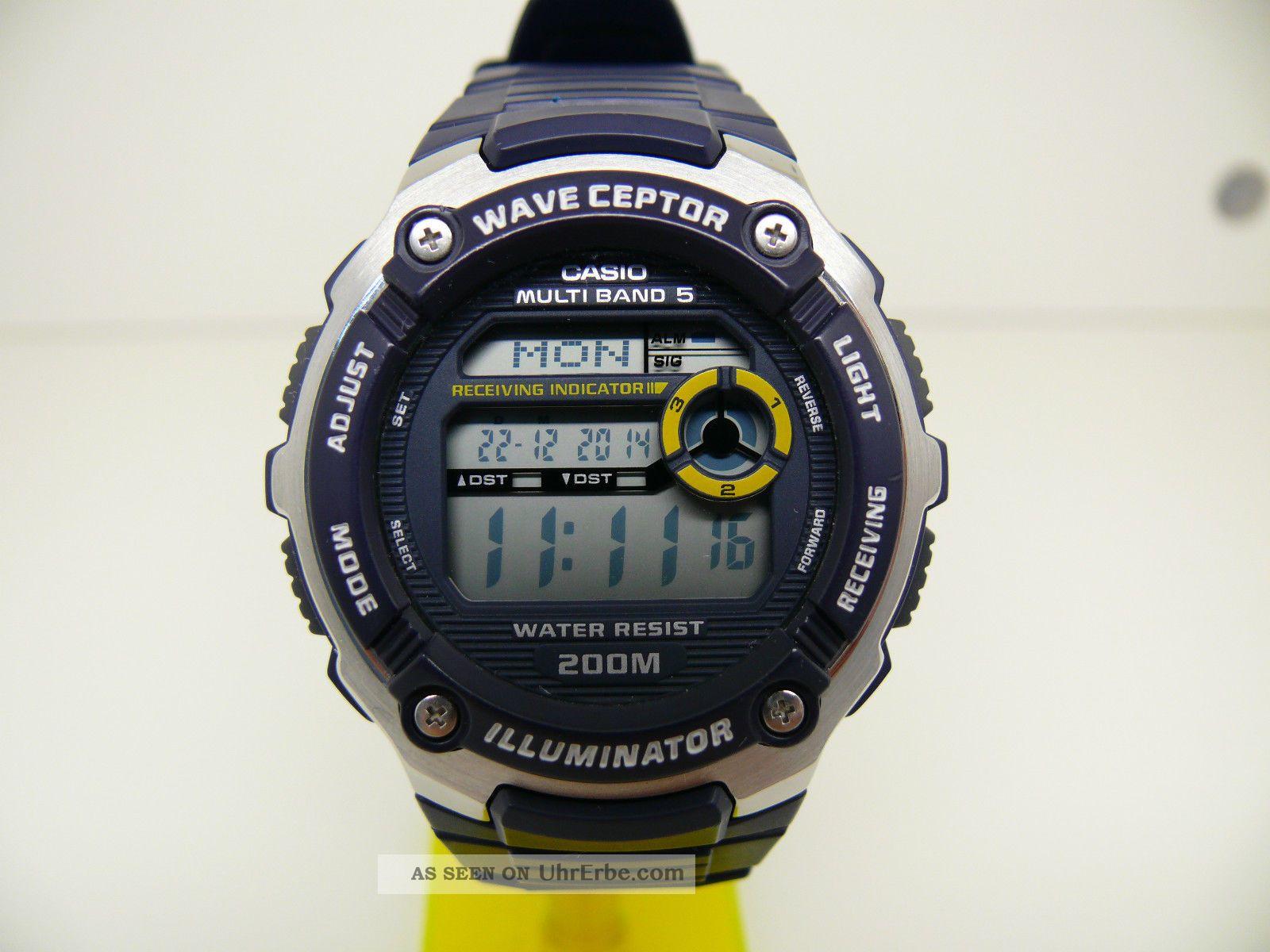 Casio Wv - 200e 3139 Funkuhr Wave Ceptor Herren Armbanduhr World Time Armbanduhren Bild