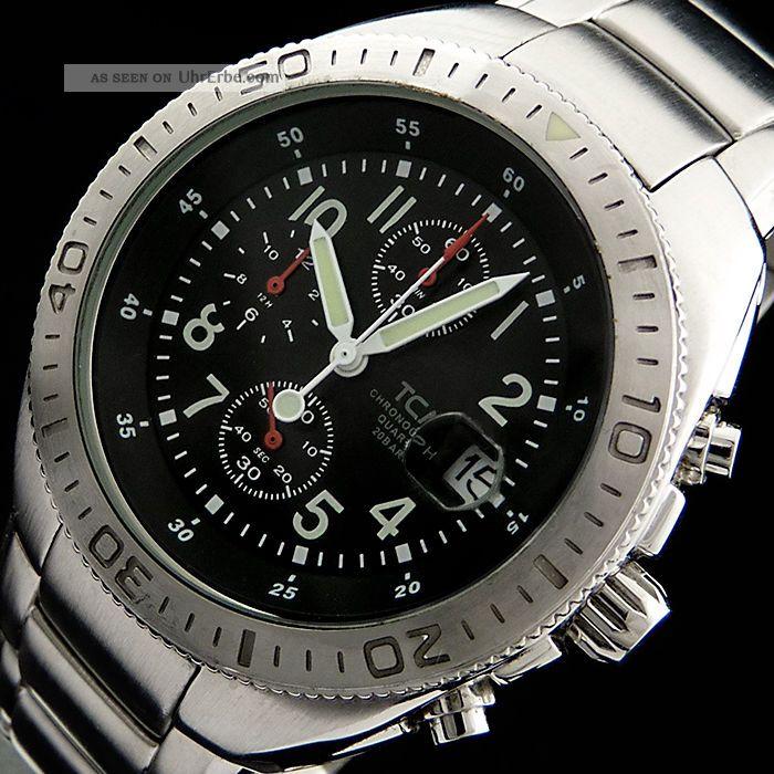 Tcm Tchibo Sporttaucher Chronograpf F.  Herren Quarzuhr M.  Datum U.  Lupe,  20atm Armbanduhren Bild