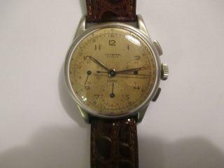Vintage Universal Geneve Compax Chronograph Handaufzug Cal.  285 Stahl Bild