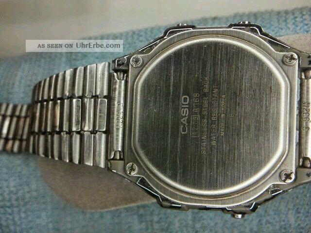 Casio Herren Uhr Alarm Chronograph Edelstahl Nr.  A168 Sammlung Läuft, Armbanduhren Bild