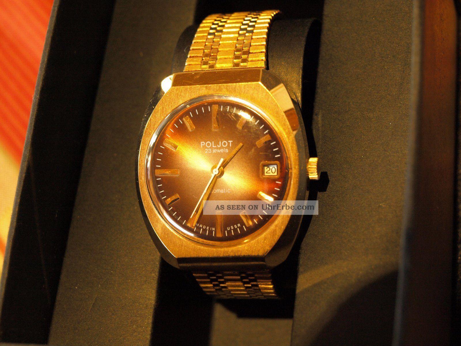 Halbautomatische Herrenarmbanduhr Von Poljot Goldfarben Armbanduhren Bild