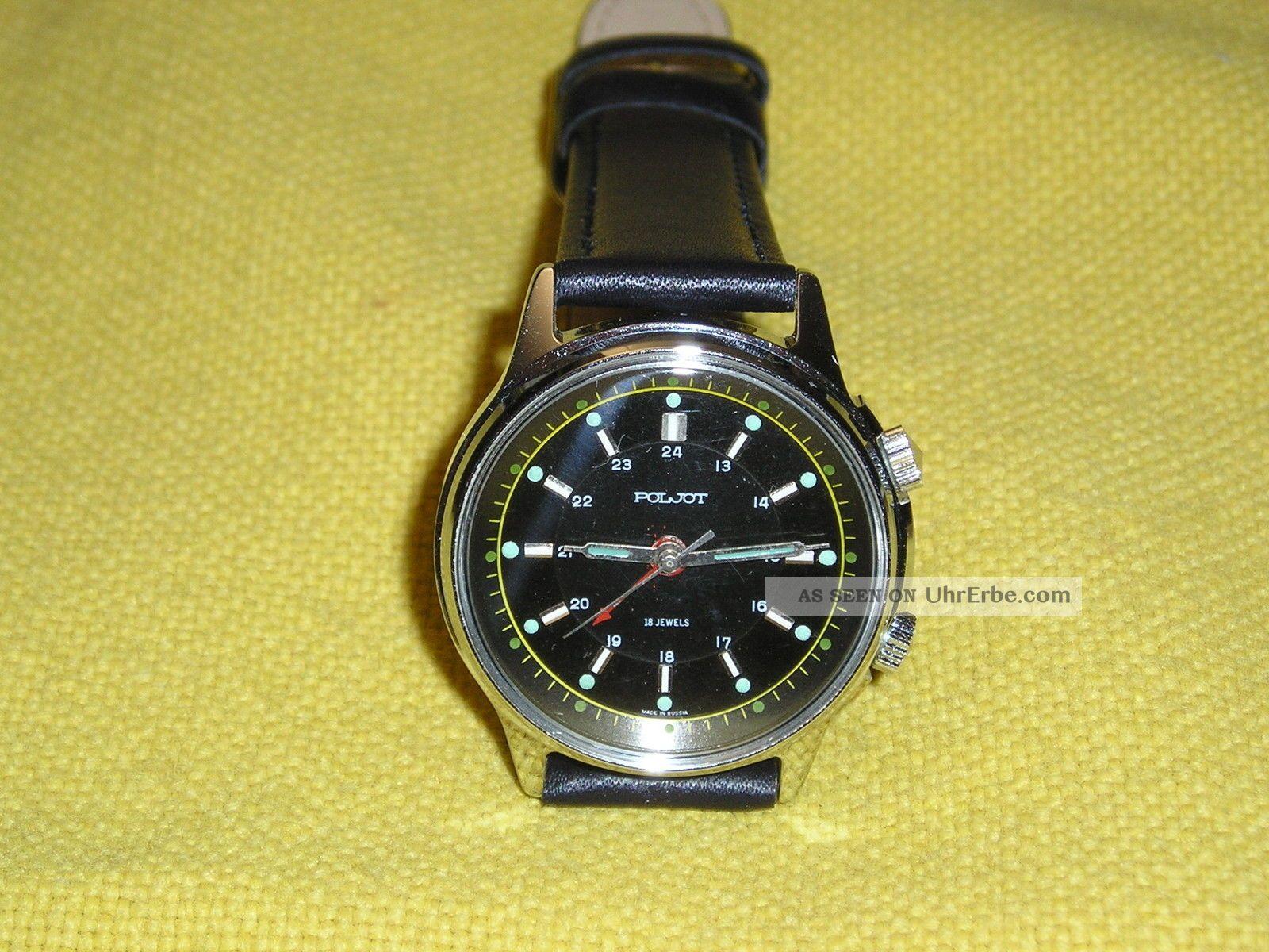 Poljot Herren Armbandwecker,  Manufaktur - Kaliber 2612,  18 Steine Bauj.  Ca.  1990 Armbanduhren Bild