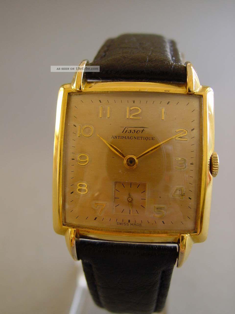 Tissot Handaufzug CarreegehÄuse,  Ca.  1940,  Läuft,  Formwerk? Armbanduhren Bild