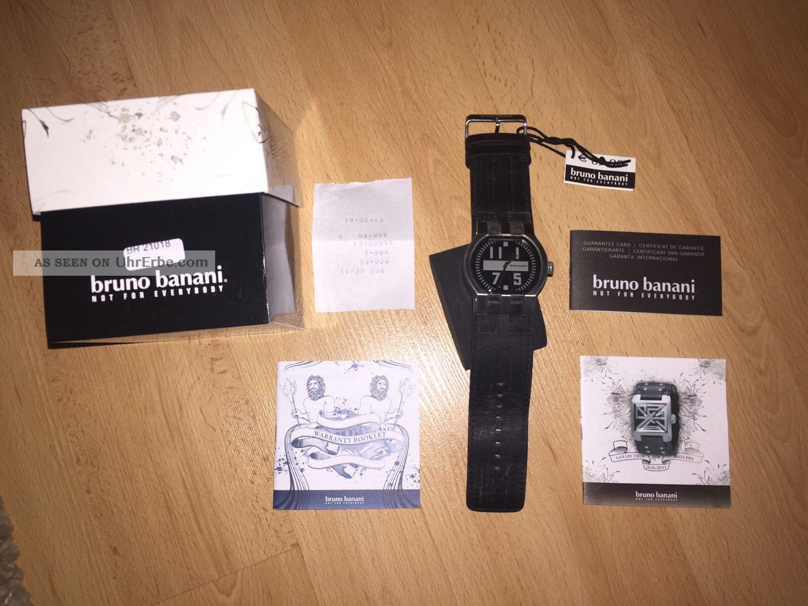 Bruno Banani Herrenuhr Lederarmband Schwarz Mit Ovp Armbanduhren Bild