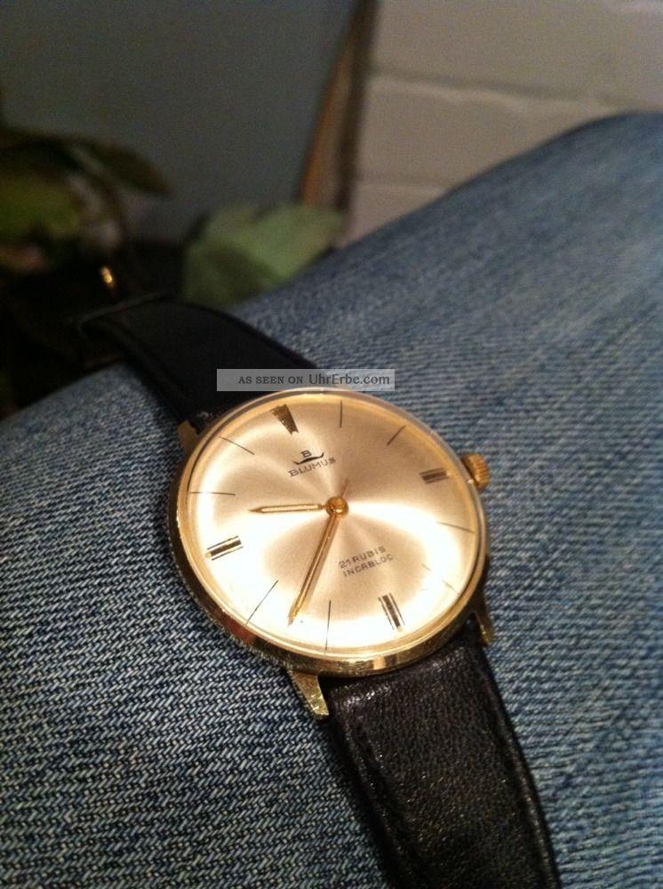 Vintage Herrenarmbanduhr Blumus Eta Werk Mit Feinregulierung Läuft Perfekt Armbanduhren Bild